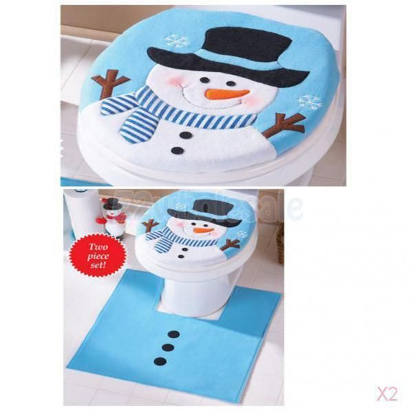 2X Christmas Santa Claus Blue Toilet Seat Cover, Tanktissue Box Set Xmas Decor