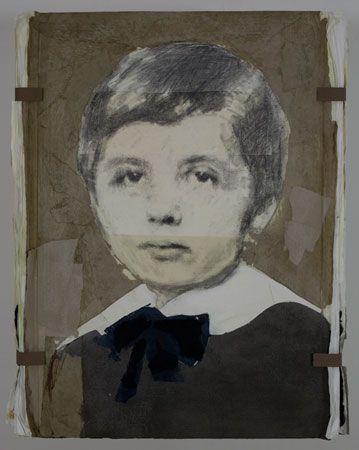"LOUIS BOUDREAULT. Albert Einstein. Mixed media on board: graphite, charcoal, pastel, gouache, paper collage. 48""x72"""