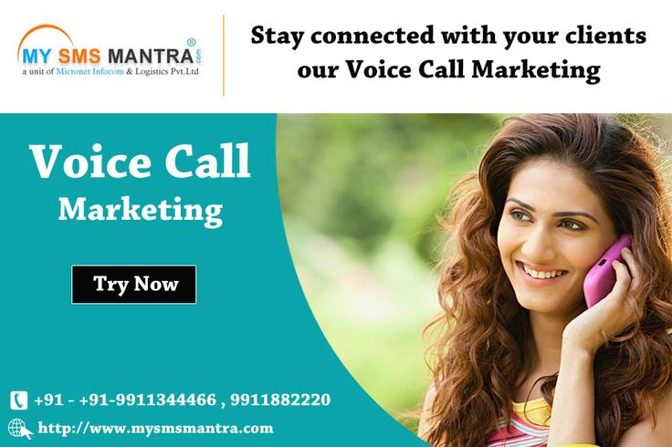 Run your Voice Call Campaign and find good marketing leads. Bulk Voice Call Campaign is widely used for Lead generation, Event ... Marketing Products & Services, Meeting alerts, Wake Up Calls, Stock Alerts moere.. @ https://goo.gl/bwBvf