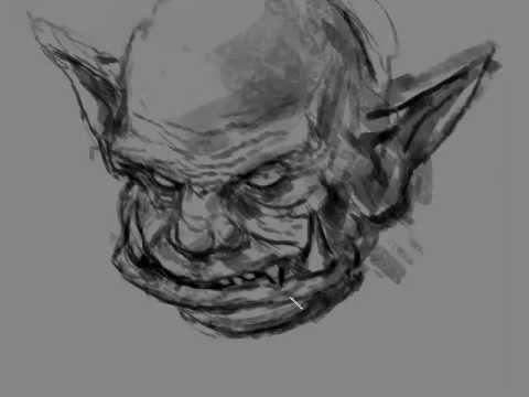 Super quick Orc face illustration study