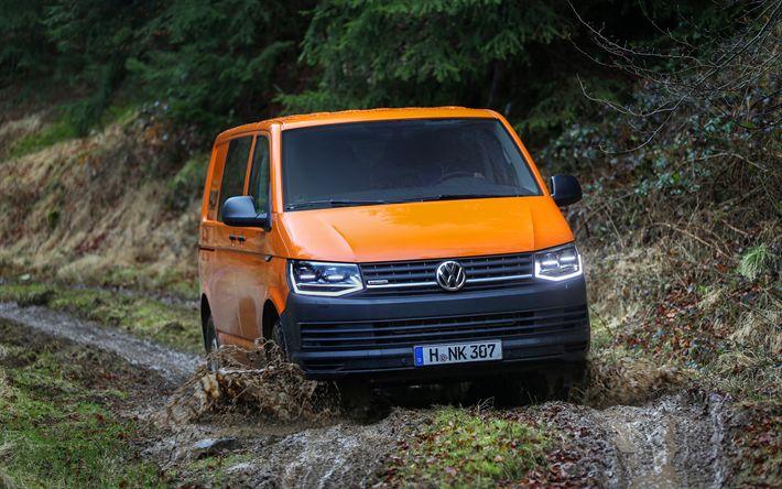 Download wallpapers Volkswagen Transporter T6, 4k, offroad, VW T6, orange Transporter, vans, Volkswagen