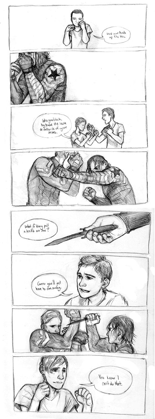Captain America: Winter Soldier spoilers. Bucky Barnes and Steve Rogers - some things are just muscle memory.