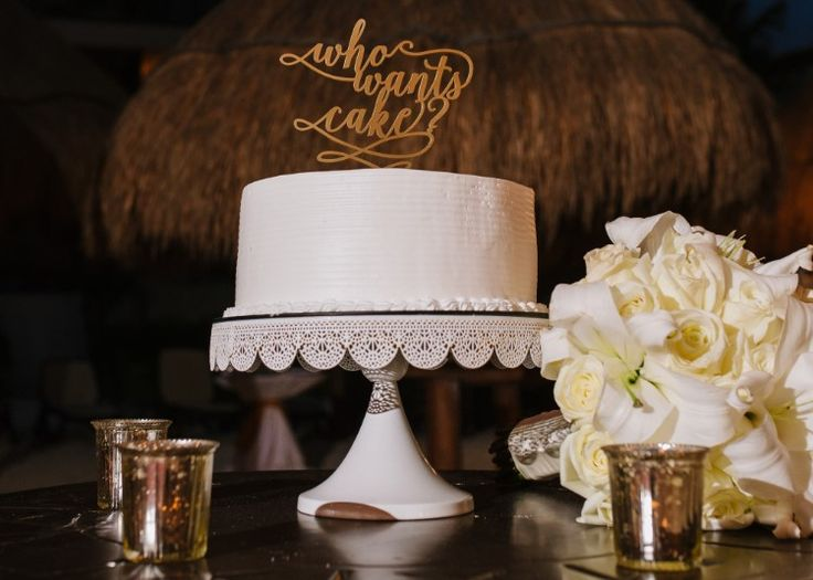 "Elegant Cancun Wedding at Dreams Riviera, MX  We're loving this unique ""Who Wants Cake"" wedding topper!  Photographer:  Genya + Erik Shenko Photography"
