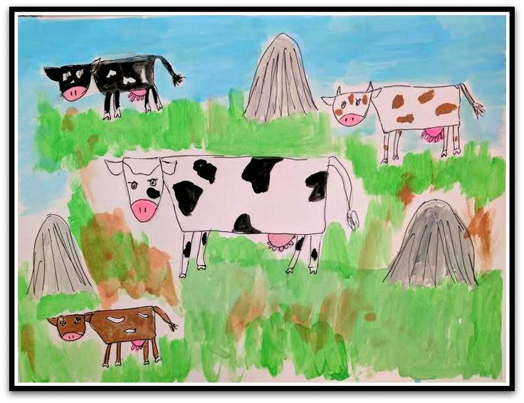 "Happy Cows Baby Folk Art Happy Art Kids Art 8.5"" x 11"" Watercolor Paint on Paper Original whimsical Nursery ArtArt by RobinNorgren on Etsy"