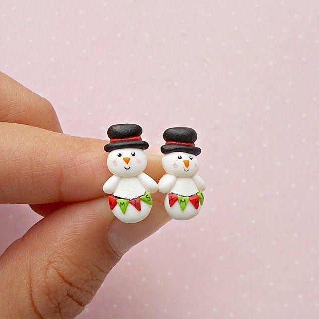 Dangle Hook Lovely Joyas Deer Ear Stud Pendientes de Navidad Polymer Clay