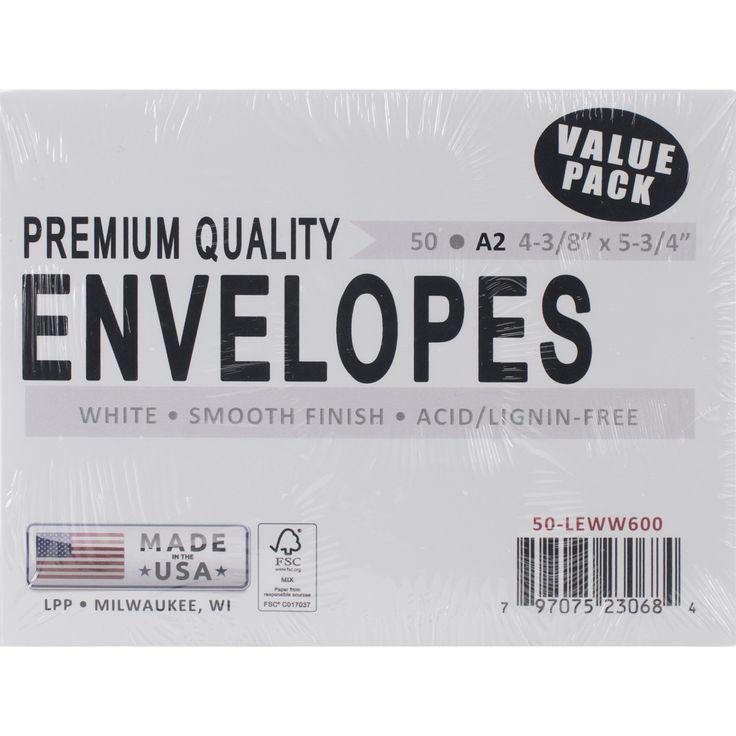 """Leader A2 Envelopes (4.375""""""""X5.75"""""""") 50/Pkg-White"""
