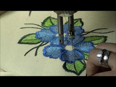 (13) free motion embroidery on treadle sewing machine - YouTube