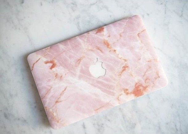 Home accessory: marble pink pastel pink apple technology computer case back to school