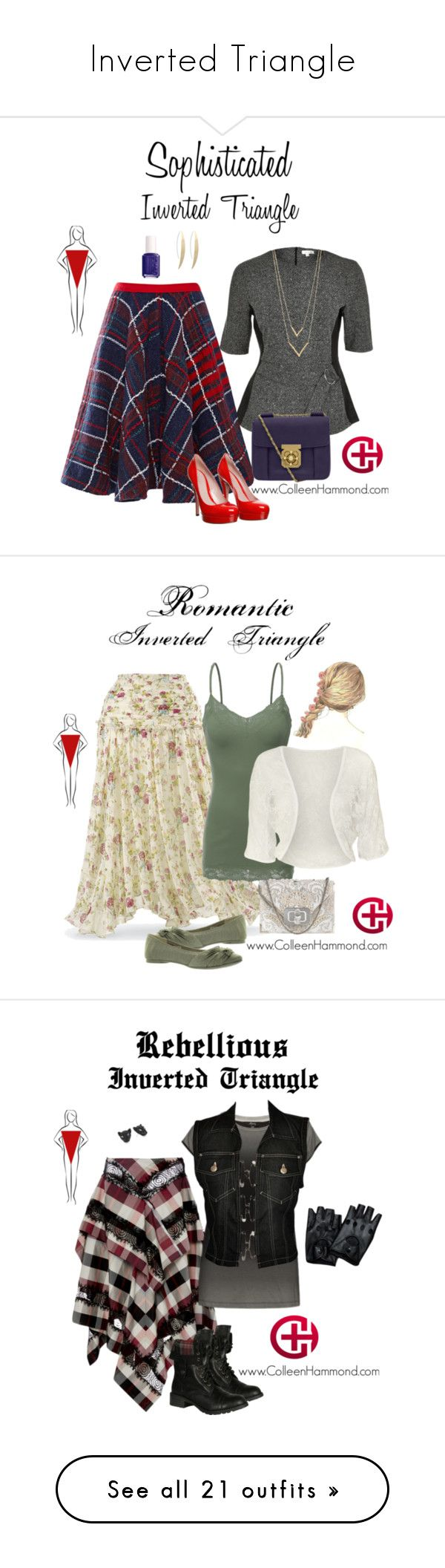 Inverted Triangle by colleen-hammond on Polyvore featuring polyvore fashion style River Island Thom Browne Gucci Chloé Jennifer Zeuner Essie clothing Bozzolo WearAll Marchesa Rocket Dog Wes Gordon Jean-Paul Gaultier Soda Betsey Johnson Tory Burch Vivienne Westwood Anglomania Harmony Paris Hot Topic Schone Stella Jean Noor Fares Michael Antonio maurices Balmain Michael Kors FOSSIL H&M LifeStride Pumps VIVETTA Marni Emilio Pucci Gianvito Rossi ERIN Erin Fetherston J.TOMSON Dolce&Gabbana Polo…