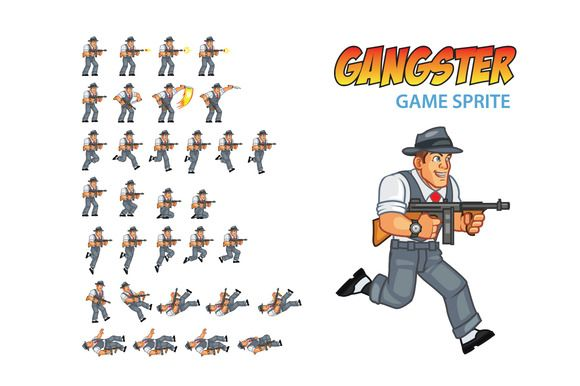 Check out Gangster Game Sprite by Gagu on Creative Market
