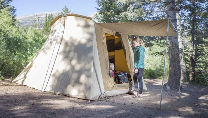 Teton Sports Mesa 14 Canvas Tent Is A Very Tall Cabin Style Tent Built From Breathable Cotton Fabric And Wi Family Tent Camping Canvas Tent Canvas Tent Camping