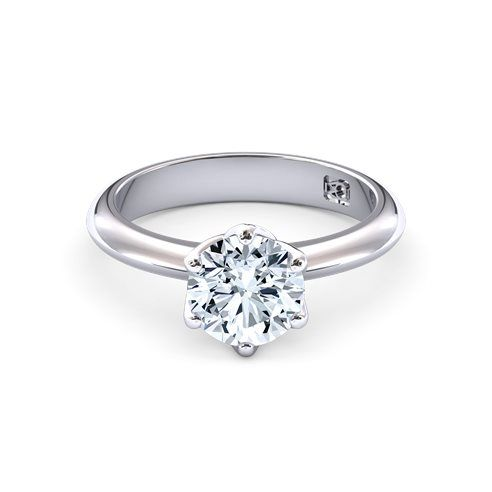 18k White Gold Round Brilliant cut 6 claw set solitaire engagement ring