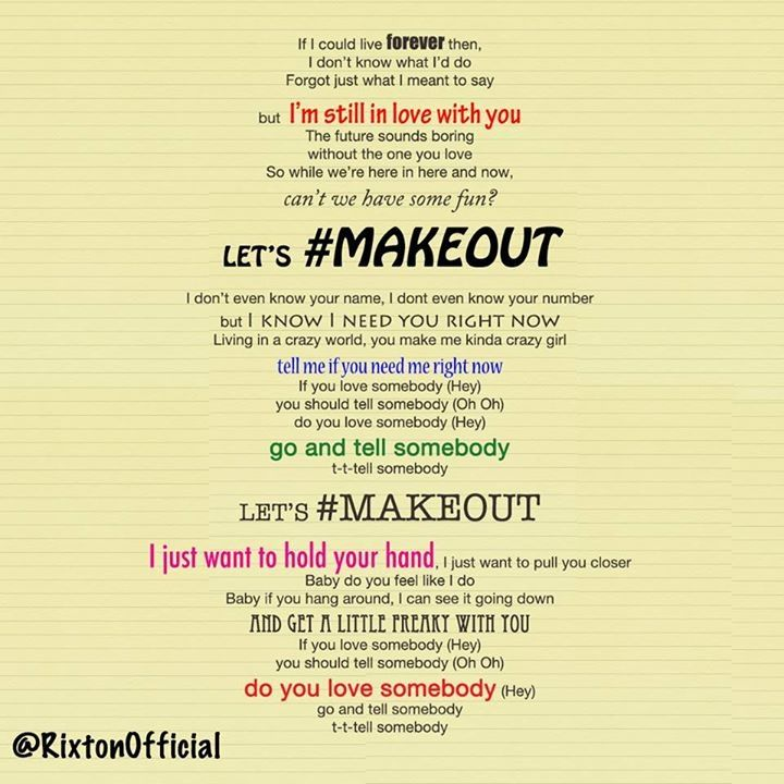 Lyric don t tell me what to do lyrics : Make out by Rixton | RIXTON | Pinterest | Songs