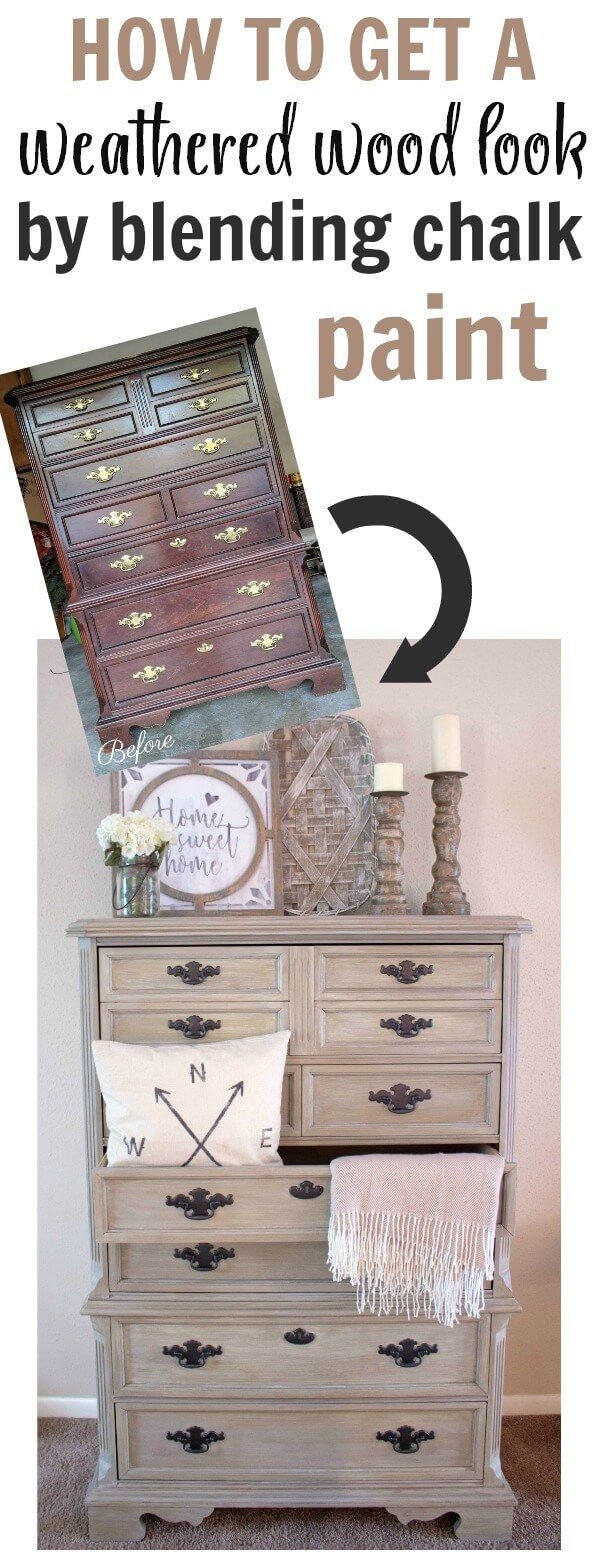 Weathered Wood Look Using Chalk Paint – Simplyvintagecreations.com