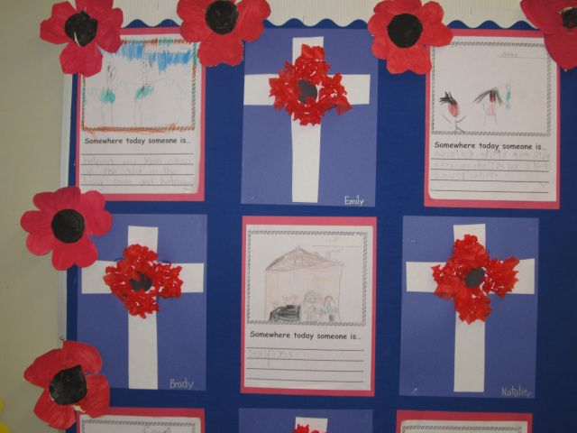 "Remembrance Day craft and ""Somewhere today someone is"" writing activity"