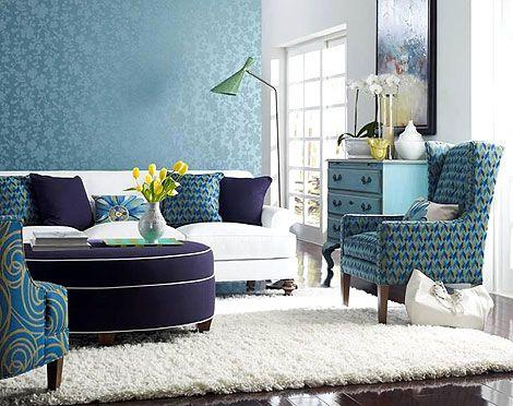 Nice Blue White and Purple Living Room Design   Picsdecor.com