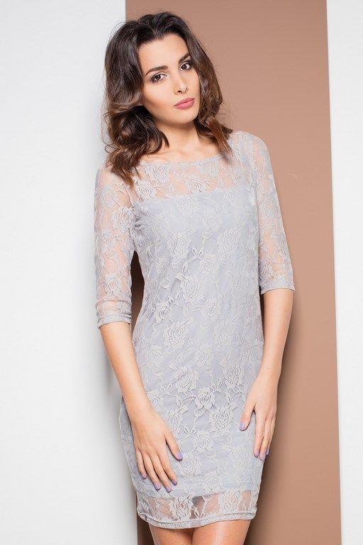 Romantyczna szara sukienka z koronką