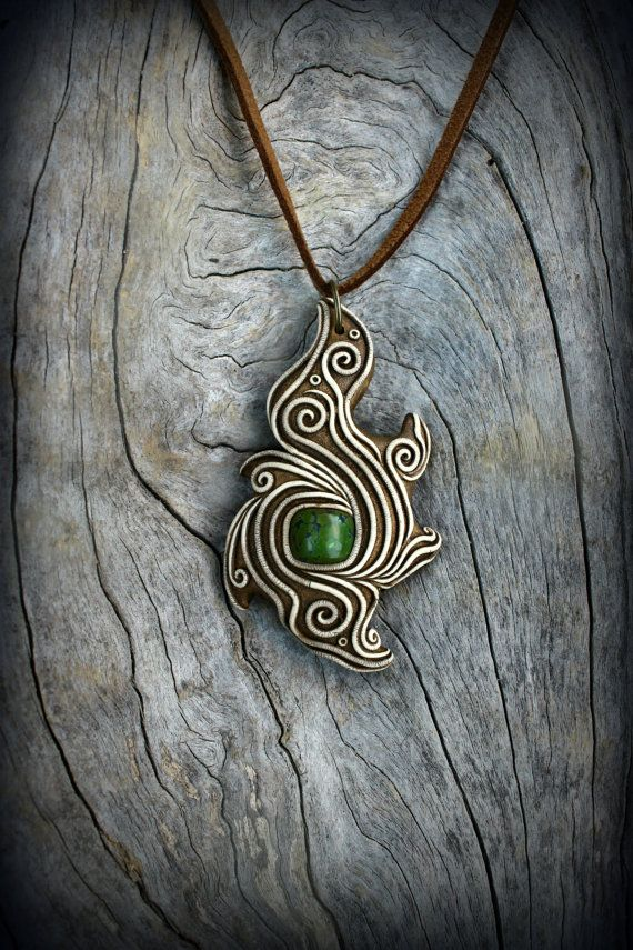 Turquoise gemstone tibal pendant spirit maori by PeaceElements