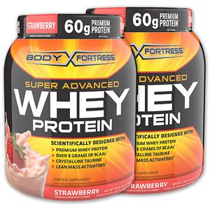 Body Fortress Super Advanced Whey, 2 lbs, Strawberry, 2-Pack, $29.99
