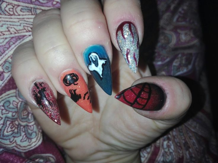 Halloween nails ghost spider web pumpkin holo