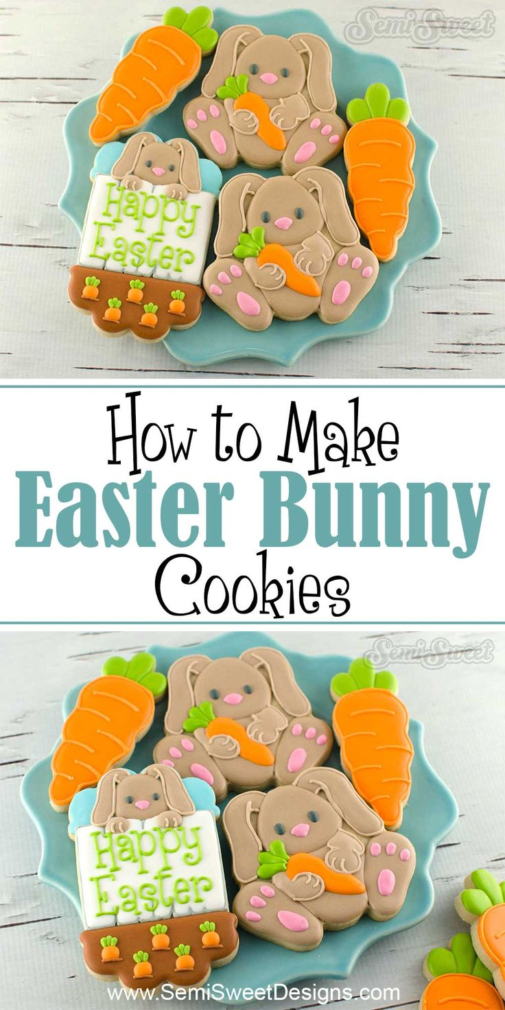 How to make Easter Bunny Cookies by SemiSweetDesigns.com | Complete tutorial with template on decorating a custom cookie cutter with royal icing.