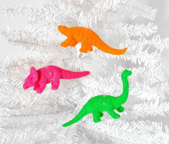 NEON Home Decor Dinosaur Ornament Decorations in Fluorescent Glitter. Great Birthday Party or Wedding Favors. Gift Set of 3