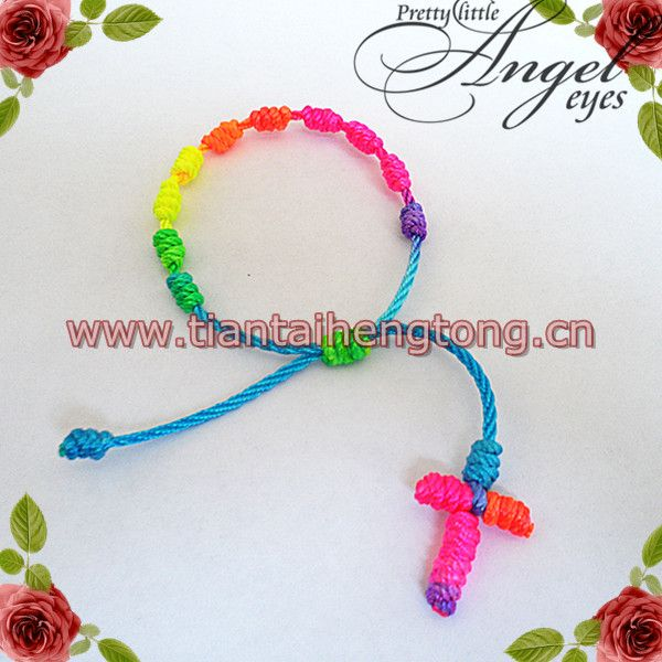 20pcs/lot rope rosary bracelet/cord knot rosary bracelet/braided rosary bangle decenario bracelet free shipping