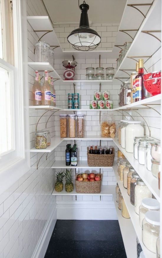 love this small corner as a pantry - great use of the space and so useful to how the house is run