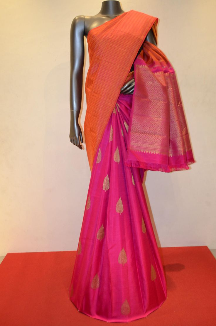 Peach Orange and Pink Patli Kanjeevaram Silk Saree Product Code: AC200592 Online Shopping: http://www.janardhanasilk.com/index.php?route=product/product&search=AC200592&description=true&product_id=4603