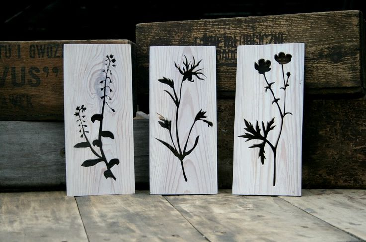 June meadow. Wall or shelves decoration made of recycled wood.