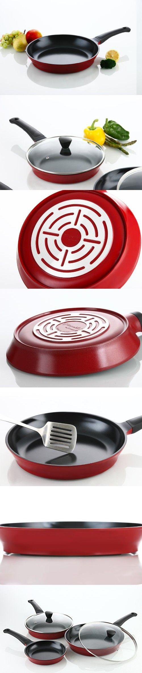 Flamekiss 5-piece Cookware Set, 3 Ceramic Coated Nonstick Fry Pans w/ 2 Glass Lids by Amorè, Innovative Design & Elegant Looks, Nano Ceramic Coating w/ Silver Ion (100% PTFE & PFOA Free)