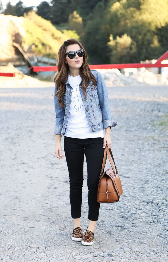 leopard flats + denim jacket + graphic tee + black ankle pants. Maybe different shoes. I'm not a fan of leopard