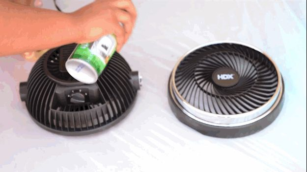 Then paint your fan and bucket lid a complementary color.