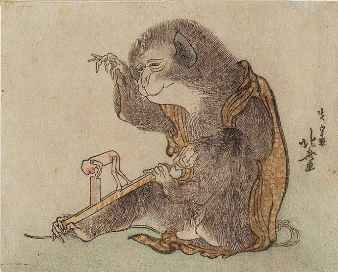 Katsushika Hokusai ; Monkey Playing with a Monkey Toy (ca. 1800)