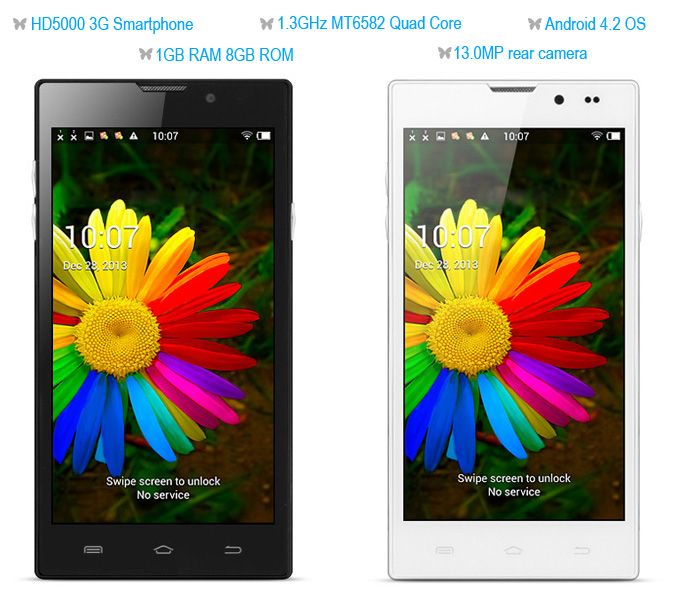 HD5000 Android 4.2 3G Smartphone with 5.0 inch HD Screen MTK6582 Quad Core 1.3GHz 1GB RAM 8GB ROM GPS 13.0MP Camera ------------------------------------103euro