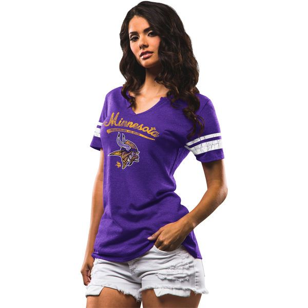 Women's Minnesota Vikings Majestic Purple Game Tradition T-Shirt