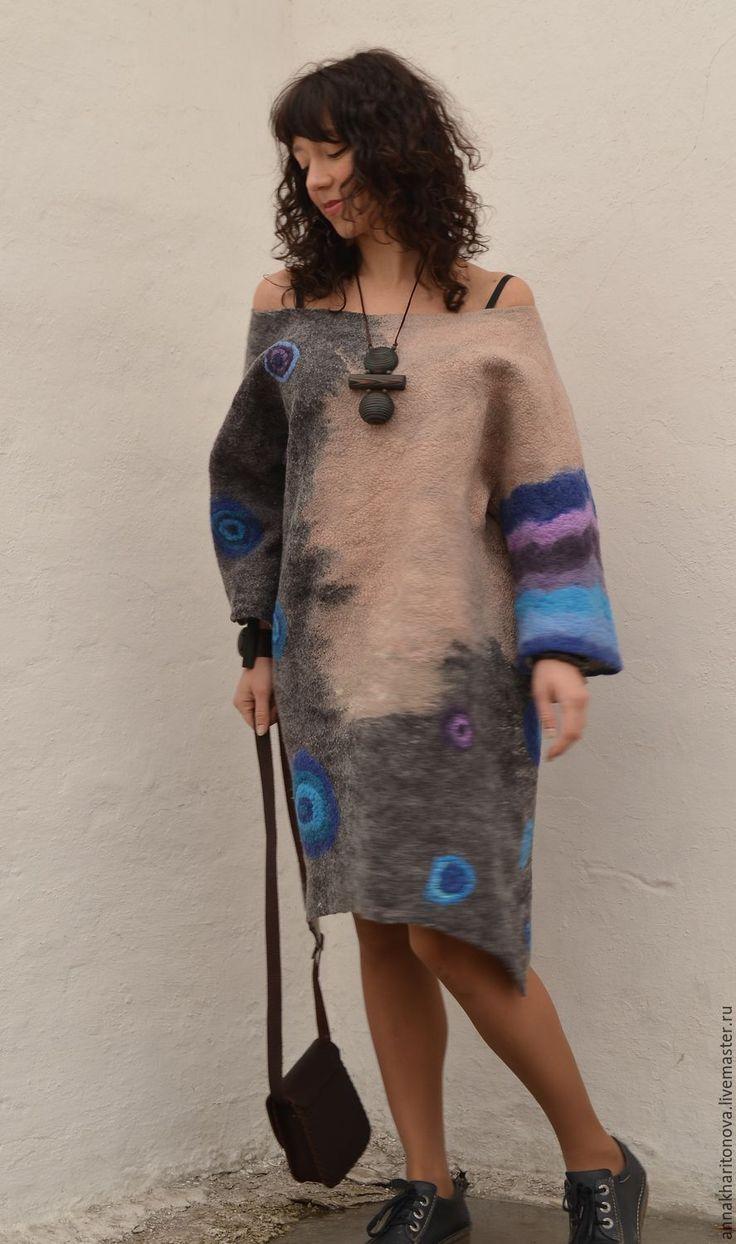 """Купить Бохо-платье """"Зов предков"""" - бохо, коричневый, длинное платье, абстрактный, длинный джемпер"""