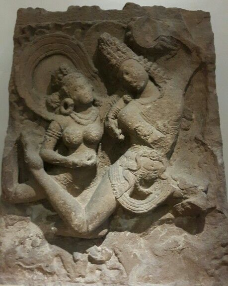 """""""Flying Gandharva and Apsara."""" ( Flying  Celestial Couple ). Chalukya Dynasty.  8th Century AD. National Museum, New Delhi. India."""