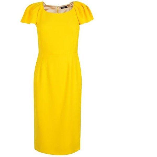 Dolce And Gabbana Cady Cap Sleeve Dress ($1,430) ❤ liked on Polyvore featuring dresses, mandarino, yellow cocktail dress, zipper dress, round neck dress, holiday dresses and cocktail dresses