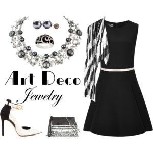 Mix Art Deco inspired jewels and fashion into your little black dress.