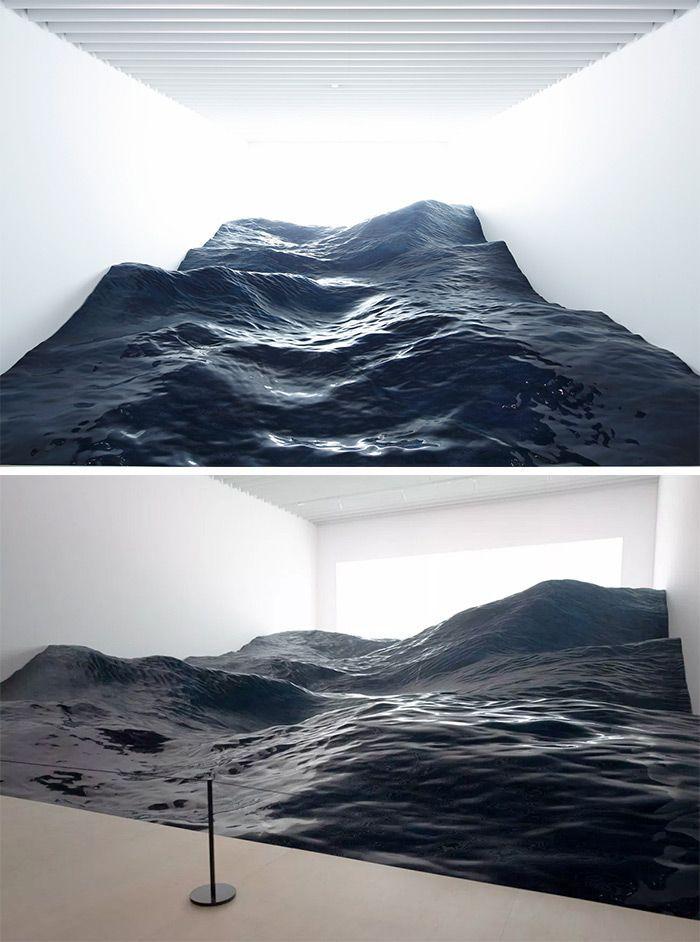 Das japanische Kunstkollektiv 'Mé' erstellt im Mori Art Museum eine hyperrealistische Landschaft mit Meereswellen