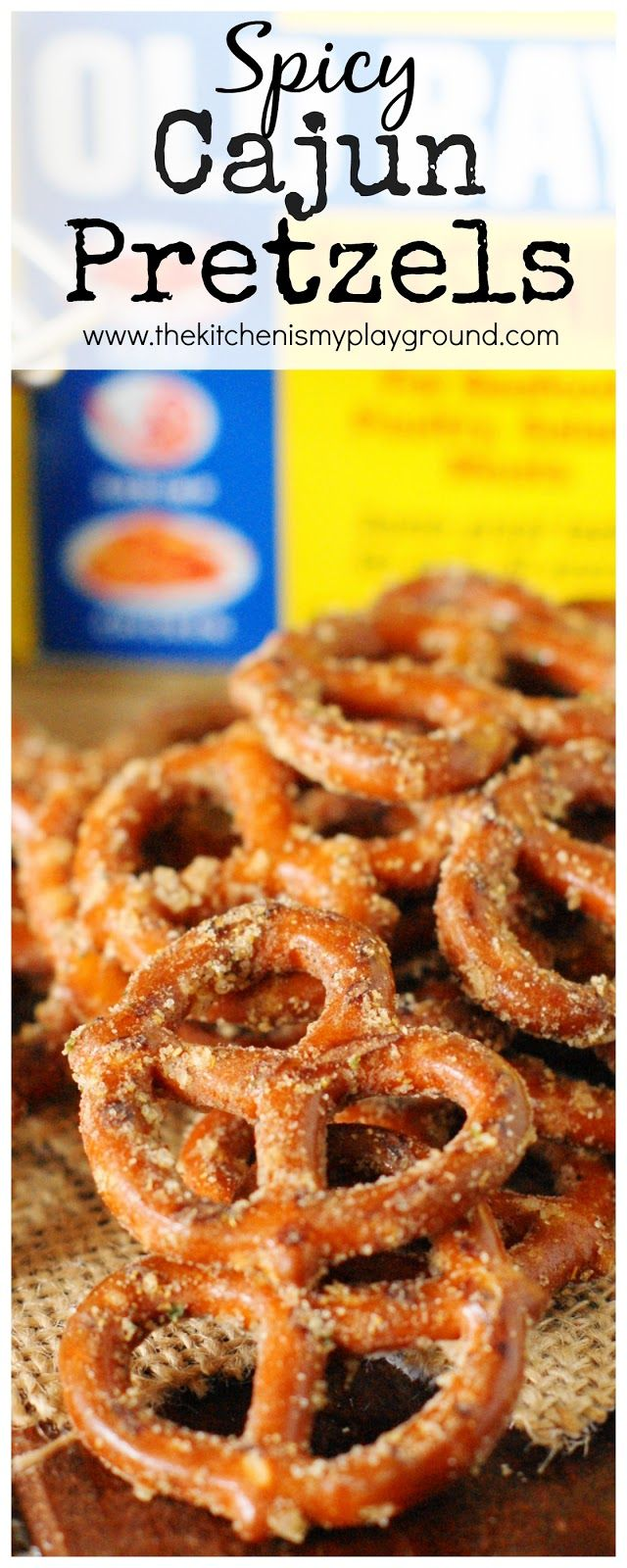 Cajun Pretzels ~ Mini pretzel twists seasoned with Old Bay, Ranch seasoning, and cayenne.  They're addictively delicious.  www.thekitchenismyplayground.com