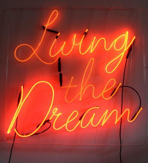 'Living the Dream' neon by artist Mary Jo McGonagle - Silvermine Arts Center