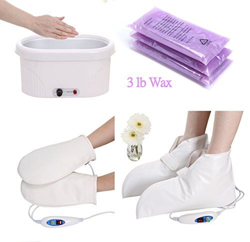 Electric Variable Paraffin Heated Bath with digital control and readoutIncludes 3lb paraffin and 40 glove/boot protectorsIncludes FREE adjustable electric gloves and bootiesFull Size Unit for Hands, Elbows and FeetSpa Quality  This Spa quality Paraffin Bath Wax Warmer comes with a digital variable heat control.   #Bath #Booties #Electric #Heater #Manicure #Mitts #Nail #Paraffin #Pedicure #Variable #Warmer
