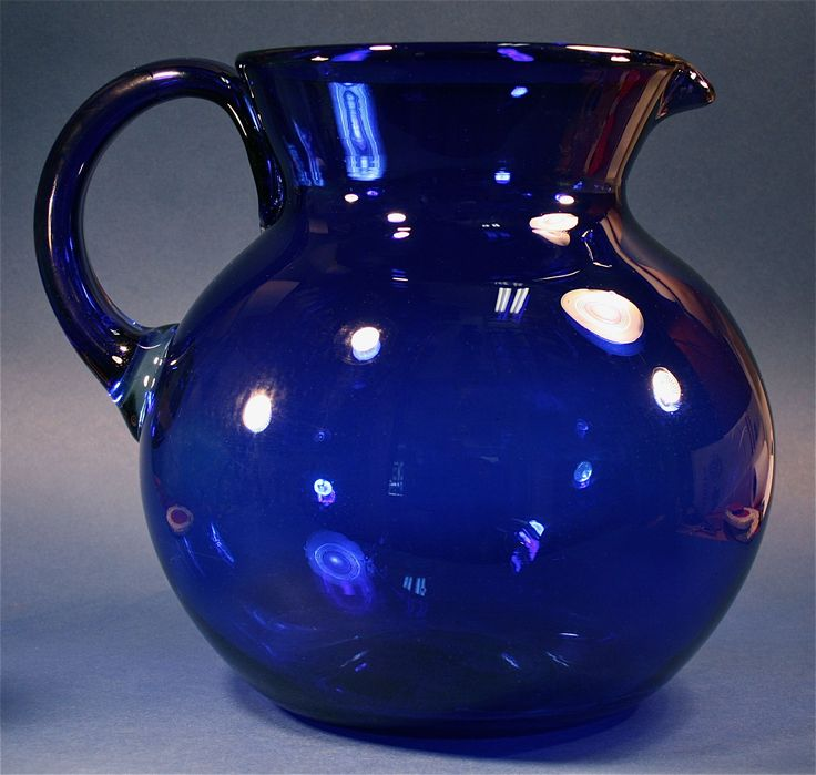 Antique Hand-Blown Old Cobalt Glass Collectible Centerpiece Pitcher - http://www.busaccagallery.com/catalog.php?catid=82=5930=1