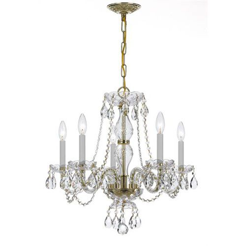 Crystorama Lighting Group Traditional Crystal Brass Five Light Clear Crystal Chandelier On SALE