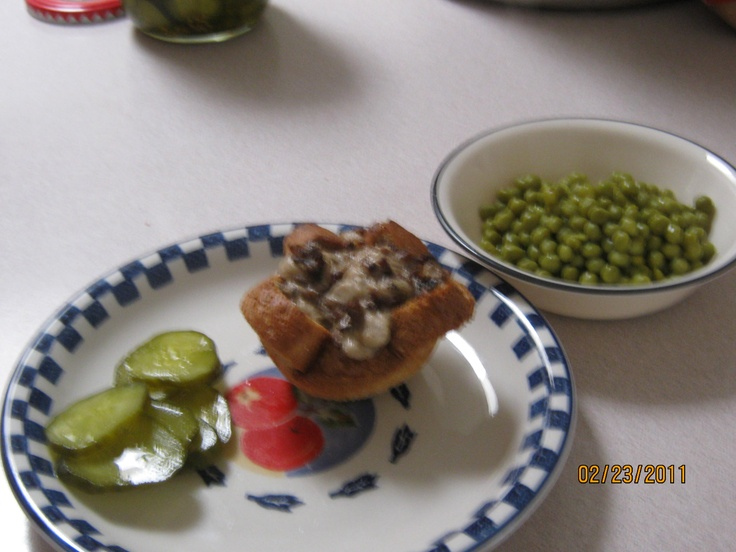bird nests - ground beef with mushroom soup baked in bread into muffin tin - bread and butter pickles and peas - good lunch item