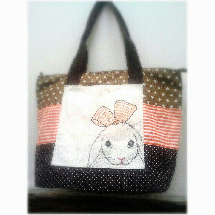 Canvas totebag and drawinghand little bunny