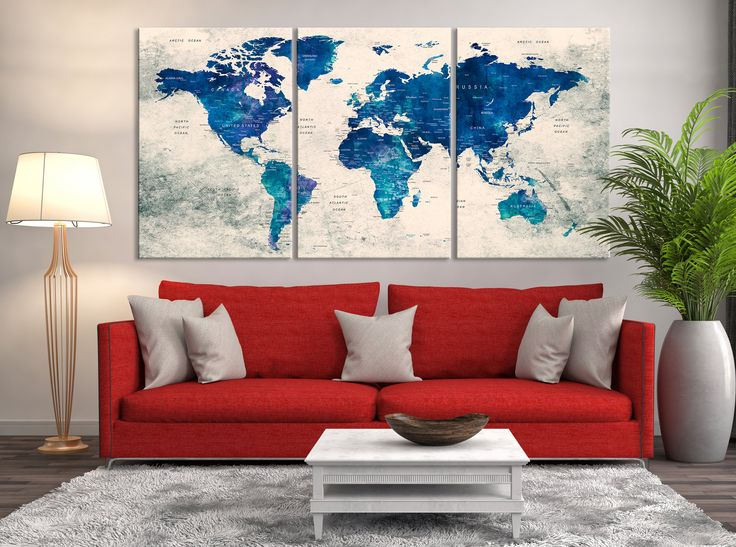 25 best push pin world map canvas images on pinterest world map push pin world map print art world map travel large world gumiabroncs Image collections