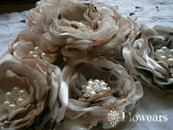 Bridal fabric flowers in ivory champagne brown taupe, Bridal flowers, Bridesmaids hair accessories, flower wedding cake decor